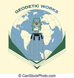Geodetic works - Global geodetic work in the world. Vector...