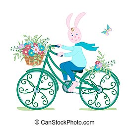 Bunny on Bicycle with flowers1-01 - Pink Bunny in a scarf on...
