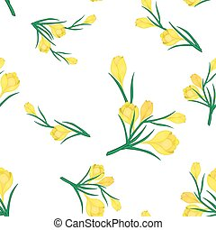 frame with yellow crocuses - Beautiful Spring seamless...