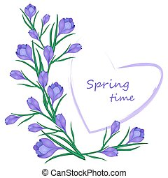 card with crocuses and heart03-01 - Vector illustration for...