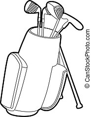 Golfing bag icon, outline style