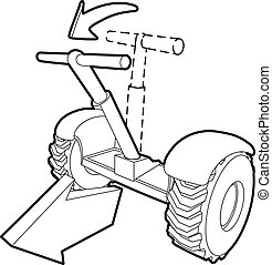Front inclined segway icon, outline style - Front inclined...