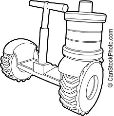 Segway battery icon, outline style - Segway battery icon....