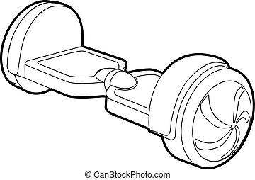 Small segway icon, outline style - Small segway icon....