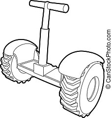 Eco segway icon, outline style - Eco segway icon. Outline...