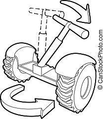Inclined segway icon, outline style - Inclined segway icon....