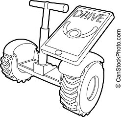 Drive on segway icon, outline style - Drive on segway icon....