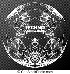 Abstract vector polygonal mesh sphere. Futuristic technology concept. Background for business presentations.