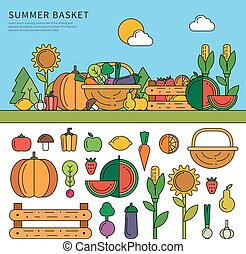 Summer basket with vitamins - Thin line flat design of the...