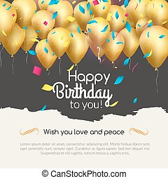 Vector happy birthday card with golden balloons and confetti, party invitation.