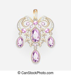 Illustration brooch pendant with and precious stones....