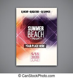 Summer beach party flyer template design. Summer party design layout event