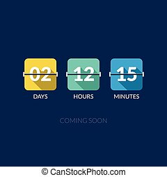 Flip Countdown timer vector clock counter. Flat style