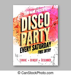 Dance Party Poster Template. Night Dance Party flyer. Club party design template with golden words