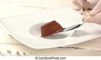 Chef putting dessert on plate. Small cake with cocoa....