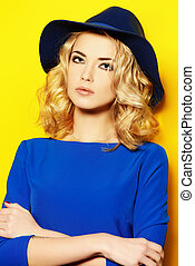 blue and yellow - Bright fashion concept. Beautiful girl...