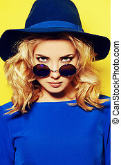summer soon - Pretty girl with curly blonde hair wearing...