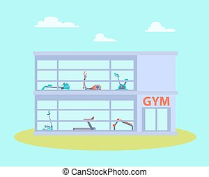 Gym building with equipment. Flat design. Vector...