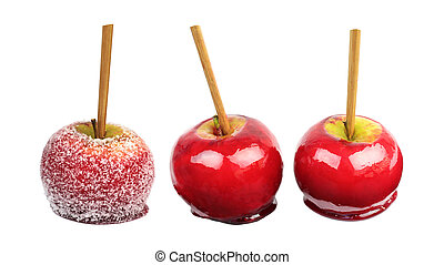 Candy apples isolated on white background