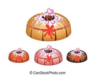 Valentine Bundt Cake Topped with Sugar Glaze - Illustration...