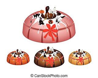Halloween Bundt Cake Topped with Sugar Glaze - Illustration...
