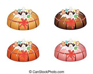 Bundt Cake Topped with Sugar Glaze and Easter Eggs - Bundt...