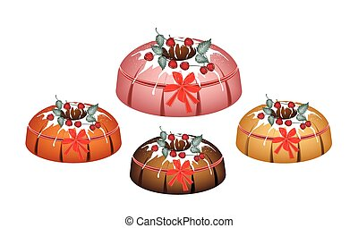 Four Bundt Cake Topped with Sugar Glaze and Cherries -...