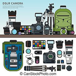 DSLR camera set - Thin line flat design of DSLR camera....