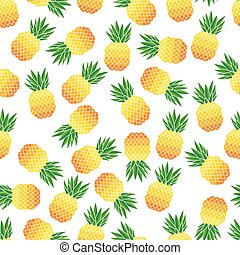 Vector illustration of seamless pattern with pineapples