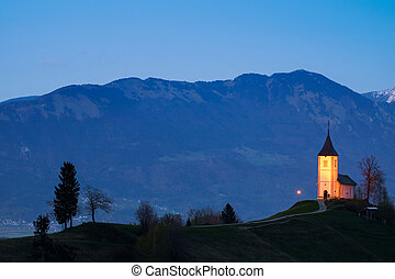 Church on the hill at sunset at Jamnik - Lonely church on...