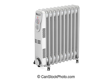 Electric oil heater, 3D rendering isolated on white...
