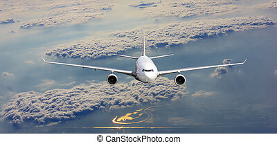 Airplane in the sky. Passenger Airliner