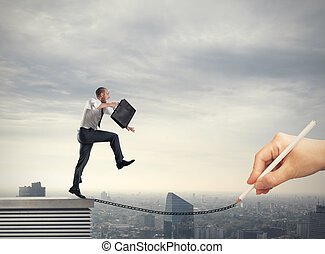 Help in your business career - Businessman poised helped by...