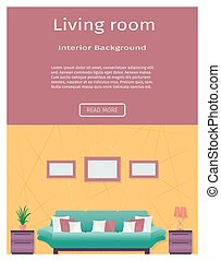 Living room interior banner in bright colors for your web...