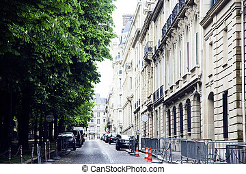houses on french streets of Paris. citylife concept postcard...