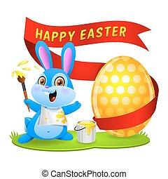 Easter bunny rabbit paints egg