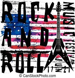 Cool grunge hand drawn electric guitar with distorted text...