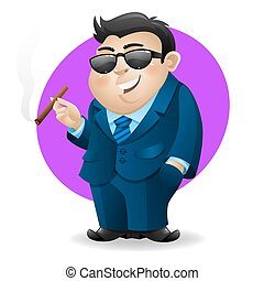 Businessman with cigar - The character has eyes under...