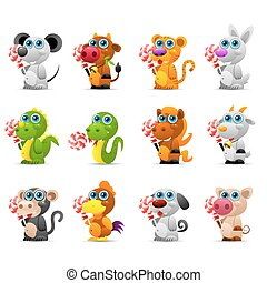 Chinese horoscope animal toys with sugar candy -...