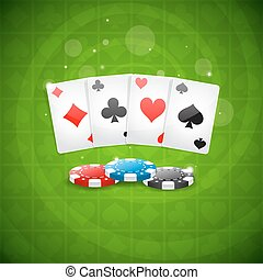 Background playing cards and chips - Illustration background...