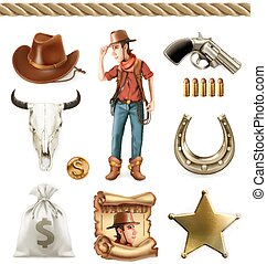 Cowboy cartoon character and objects. Western adventure. 3d vector icon set