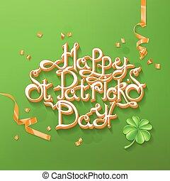Feast of Saint Patrick. Lettering 3d vector