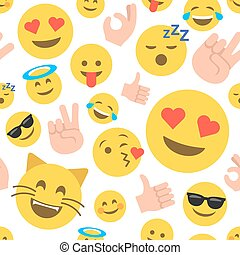 Abstract emoticon seamless pattern