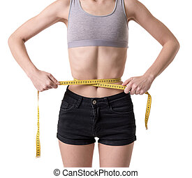 Very skinny girl - Suffering from anorexia. Girl showing her...