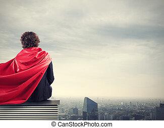Business city superhero - Businessman with a superhero cape...