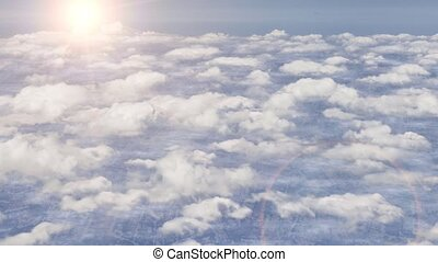 Flying above clouds aeroplane airplane sky stratosphere sun lens flare