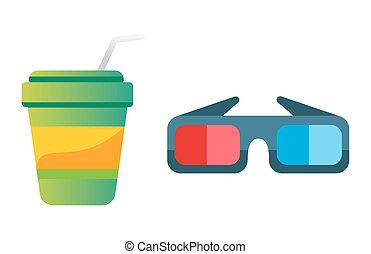 Take out drink cup and cinema glasses vector illustration. -...
