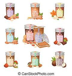 Peanut butter vector flat design illustration jar. Breakfast...