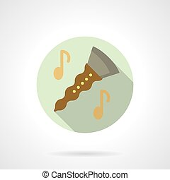 Music lessons. Clarinet flat round vector icon - Symbol of...