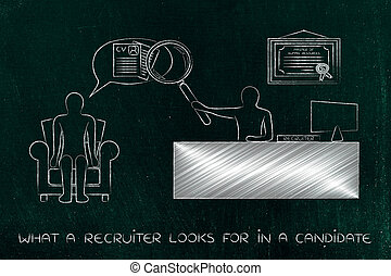 recruite with big magnifying glass analyzing candidate